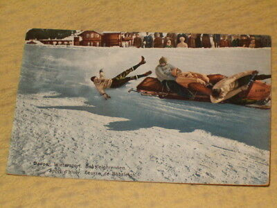 CARTE POSTALE 1910 SUISSE DAVOS BOBSLEIGH sport d' hiver post card switzerland