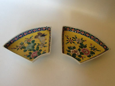 Antique Pair of Nippon Yellow Side Bowls/Plates w/ floral designs, Hand Painted