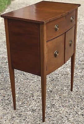 Fine Antique Inlaid Edwardian Bow Front Writing Table