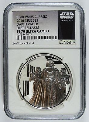 Auc0403 - 2016 S$2 Star Wars Darth Vader Silver Coin Ngc Pf70 Ultra Cameo