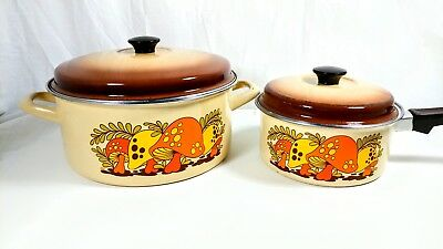 Vtg 4pc Merry Mushroom Cookware 70s Lot Enamel Ware Pot Pan Collection RARE SET!
