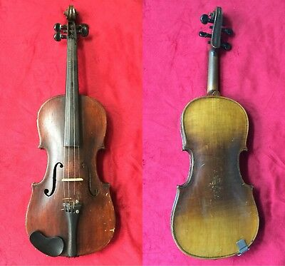Vintage Old Antique 4/4 German Violin Markneukirchen Germany One Piece Back