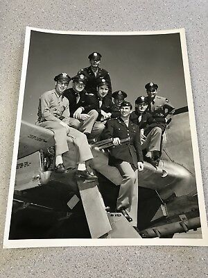 Original WW2 Period Group Photo P-47 Fighter Pilots On P-47 8x10