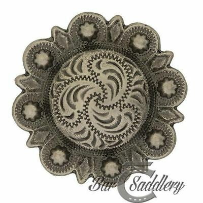 Antique Silver Engraved Berry Concho