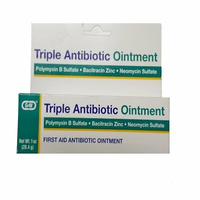 2 Pack G & W Triple Antibiotic Ointment First Aid 1 Oz. Tube, Prevents Infection