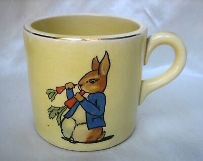 1930s Edwin Knowles China Child's Mug with Rabbit and Puppy