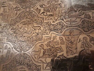 Huge bronze Persian Middle Eastern Hand Chased Tray Rare