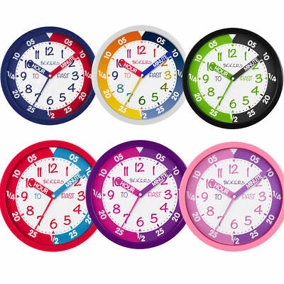 Tikkers Silent Sweep Seconds Precision Movement Time Teacher Kids Wall Clock