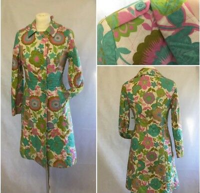 VINTAGE LADIES 1970S Quilted Dressing Gown Housecoat ~46\'\' XL Retro ...