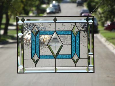"""•SKY • -Beveled Stained Glass Window Panel • 19 1/4"""" x 14 1/4"""""""