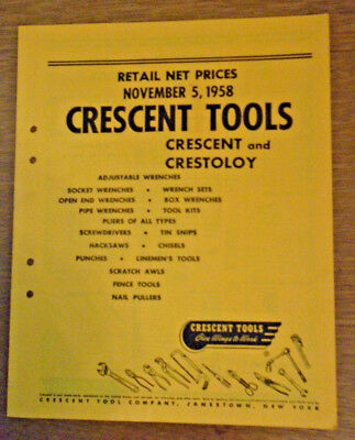 Quality First 1958 Crescent Tools Retail Prices Booklet Nice Condition 13-120