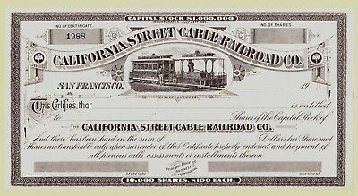 San Francisco Cable Car Company stock certificate. c.1930's