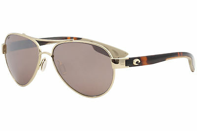 Costa Del Mar Loreto LR64 LR/64 Rose Gold Pilot Polarized Sunglasses 57mm