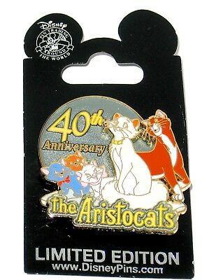 Rare LE Disney Pin✿40th Anniversary Aristocats Duchess Marie Thomas O'Malley Cat