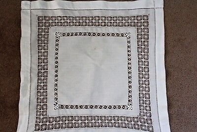 Vintage small square white linen cloth with decorative drawn thread work.