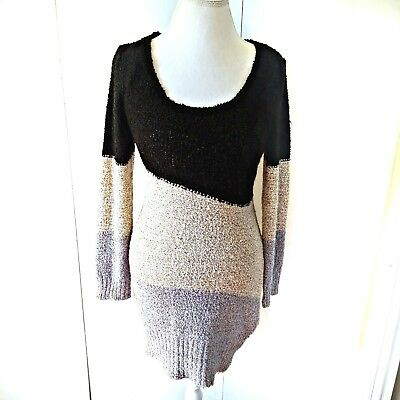 dfa99ff69f0 Charlotte Russe Sz Medium Knit Sweater Dress Color Block Black Beige Gray