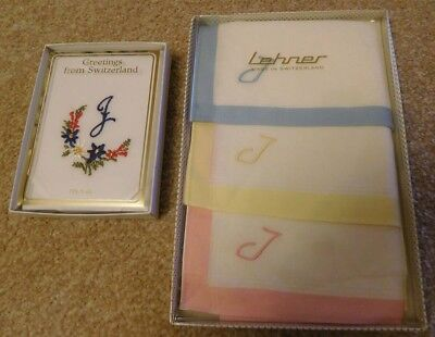 3 Vintage Lehner & 1 Tawa Swiss Boxed Handkerchiefs Hankies Embroiderd With 'j'