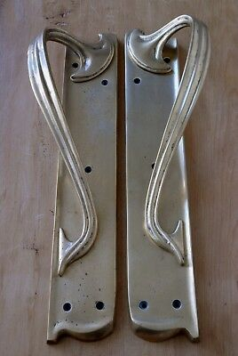 Pair Art Nouveau Pull Door Handles Brass Vintage Original Patina Antique 15""