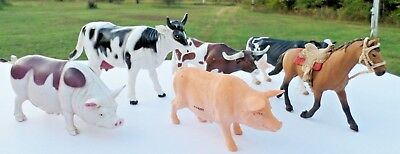 Plastic Farm Animal Various Makers, Schleich, Blip Toys and Unmarked Lot of 6