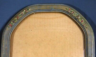 """Vintage Convex glass Picture Frame with Gesso Roses 10""""x14"""""""