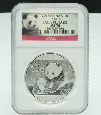 2012 China 10 Yuan Panda / NGC Graded MS70 / Early Releases / 1 oz .999 Silver