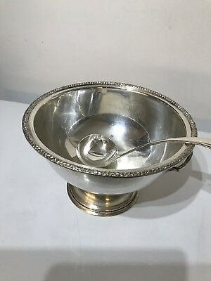 Antique Silver Plate on Copper Bunch Bowl with Ladle