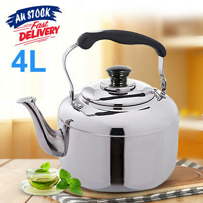 4L Tea Kettle Stainless Steel Stove Silver Whistling