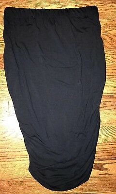 A Glow Maternity Skirt Size M Black Rouched Knit Fitted Career Beach Women's