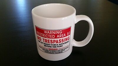 Area 51 Warning Restricted No Trespassing Coffee Mug Cup White Red