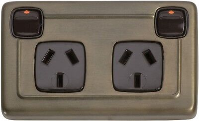 deco antique brass double power point,outlet,heritage style TH 5849