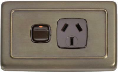 deco antique brass single power point,outlet,heritage style TH 5848