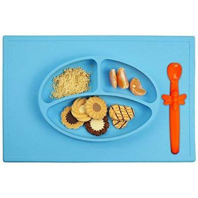 Silicone Baby Placemat + 3 Compartment Food Plate with Silicone Spoon Incl..