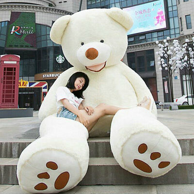 78'' Giant Big Teddy Bear Plush Soft Toys Doll Gift White only Cover with Zipper