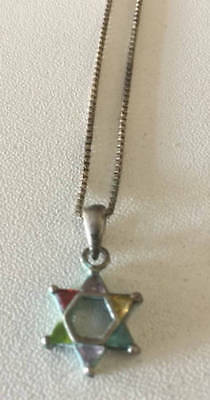"Vintage 925 Silver Star of David with 6 Stones on 16"" (8"" ) Italian Necklace"
