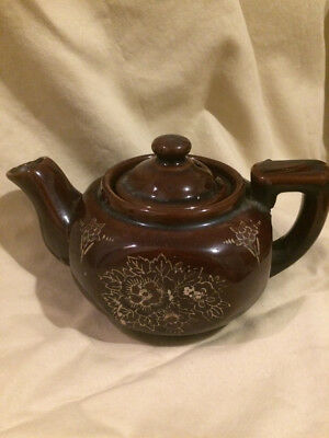Vintage Ceramic Made In Japan Small Brown Teapot Hand painted Flowers 1 cup