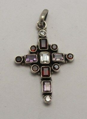 Vintage Sterling silver 925 with multi-color stone Cross Pendant signed