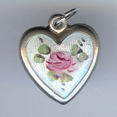 Vintage Sterling Silver Pink Green Blue Enamel Rose Puffy Heart Charm