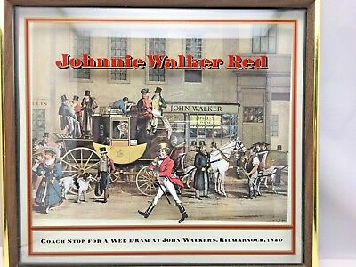 RARE! Johnnie Walker Red Framed 3D Advertisement Sign Scotch Whisky Collectible