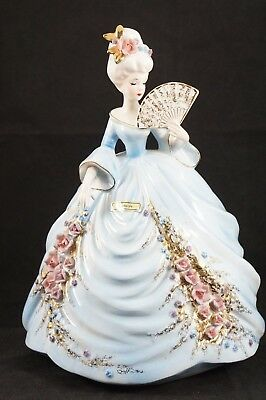 Vintage Josef Originals Colonial Days Lady Adelaide Holding Fan Beautiful Blue