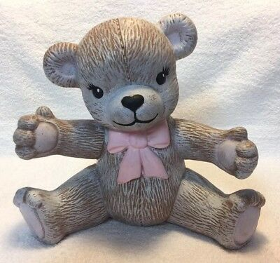 Teddy Bear Bank 8.5 Inches Tall Pink Bow Girls Piggy Bank Coin Large Ceramic