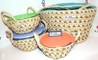 Tupperware Bowls Set Wonderlier Maize & Seagrass Handled Bags Beach Picnic
