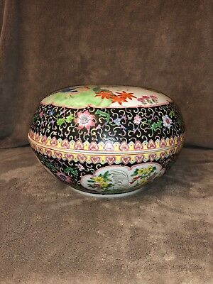 Oriental Chinese Serving Bowl with Lid Decorated with Floral and Rooster Design