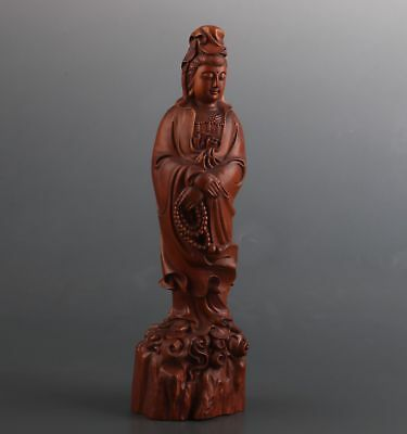 Big Rare Chinese Old Boxwood Hand Carved Kwan-Yin Figure Statue Collectable