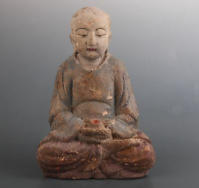Rare Big Chinese Old Wood Hand Carving Buddha Tangseng Statue Figure Ornament