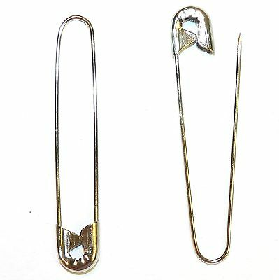 """SP120 Silver 2-1/4"""" Coiless French Safety Pin For Beads, Crafts & Jewelry 18pc"""