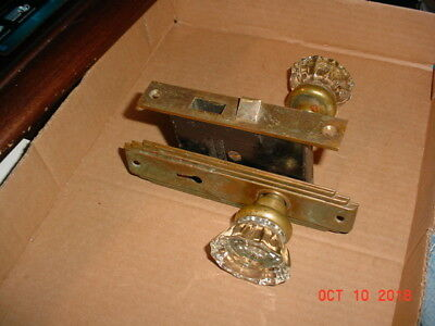 Antique Glass Door Knob with Escutcheon Plate and lock insert Farmhouse,w/key