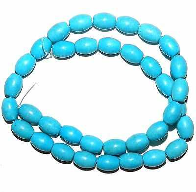 """T295 Blue Turquoise 11mm Tapered Oval Barrel Magnesite Gemstone Beads 15"""""""