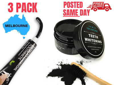 3 PACK Charcoal Teeth Whitening + Bamboo Toothpaste Carbon Hi Coconut Coco Kit