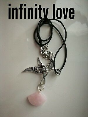 Code 440 Infinity Love Rose Quartz Charged n Infused Necklace Cupid Wing Feather