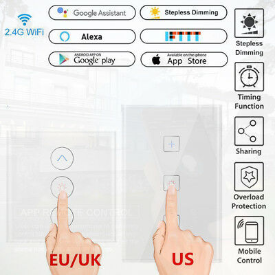 1 GANG 1 Way Glass Panel LED Light Smart Touch Screen Wall Dimmer Switch  LOT US